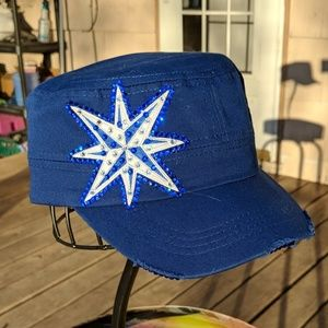 New 1 of a kind royal blue celtic star bling cap